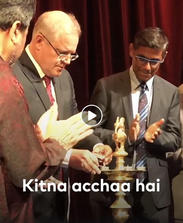 scott morrison diwali 2019 lighting puja or candles