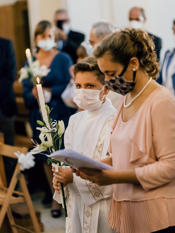 masked church patrons