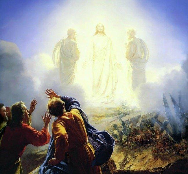 Jesus transfigured before the disciples